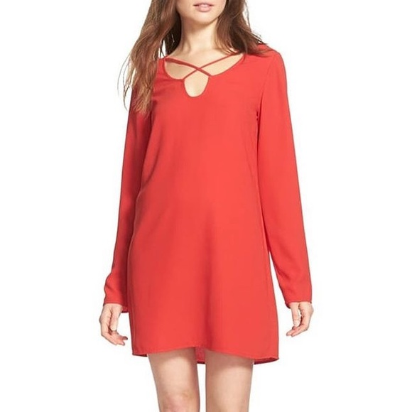 LEITH CROSSOVER SWEETHEART RED SHIFT DRESS